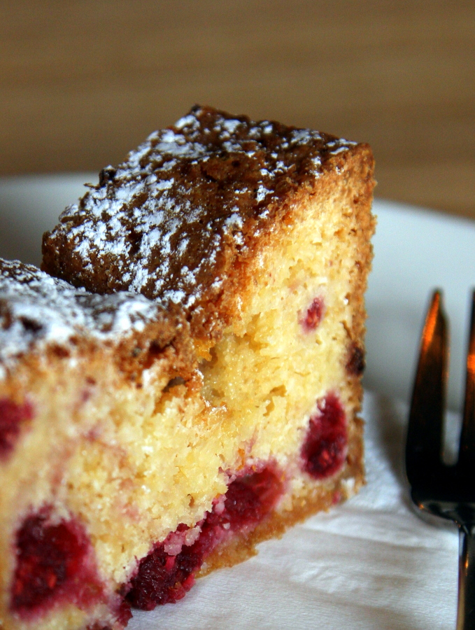 Cake: Raspberry, White Chocolate and Coconut from Three Bags Full