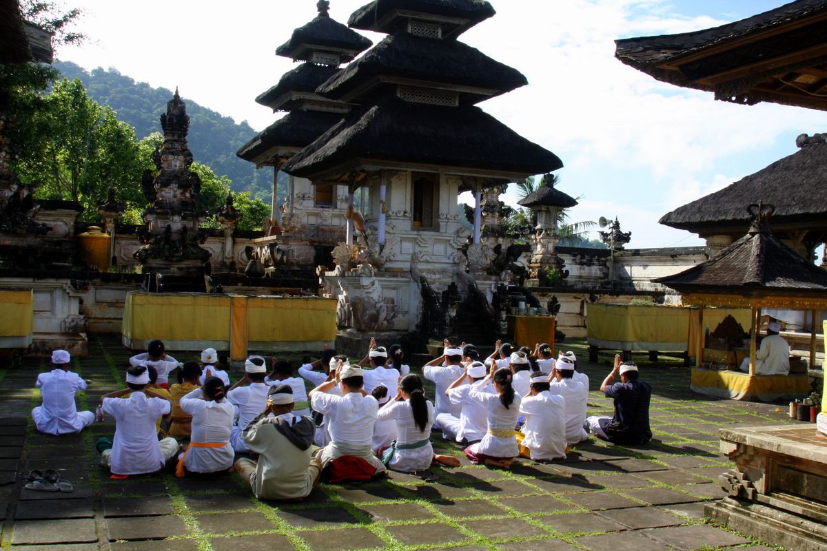 Balinese People Praying at Pura Lempuyang