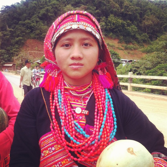 Lao woman in traditional clothing - not a tourist in sight!