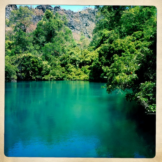 Blue lake on the Tha Khek loop