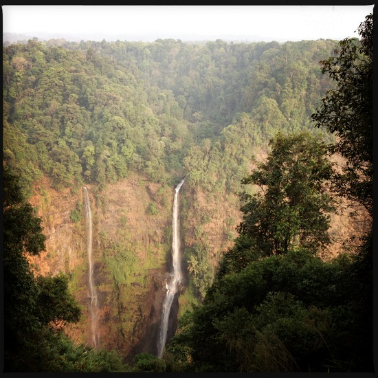 Twin waterfalls on the Bolaven Plateau