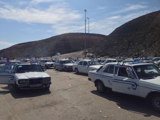 Taxis at the Moroccan border