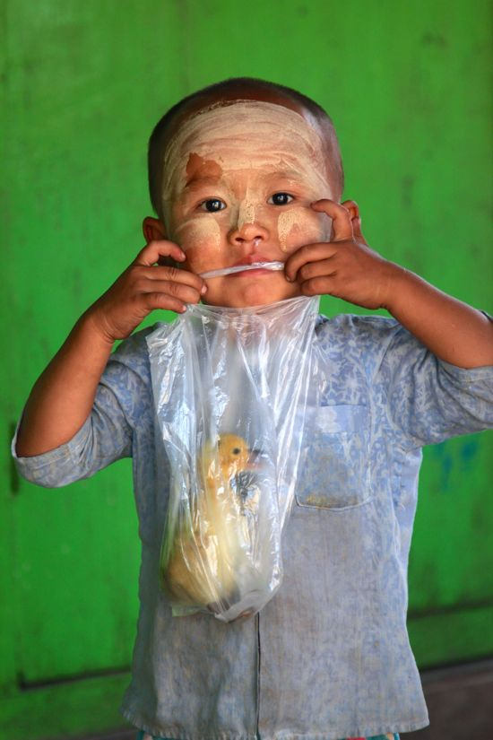 Same old Burmese kid with a duckling in a plastic bag