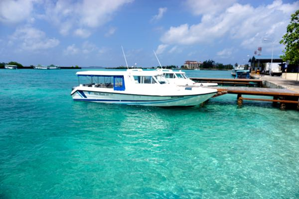 Those with plenty of money will catch one of these speed boats docked at the airport, but they're of little use to those on a budget.