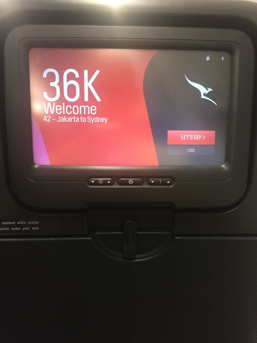 QANTAS seatback TV with a friendly reminder of which seat you're sitting in