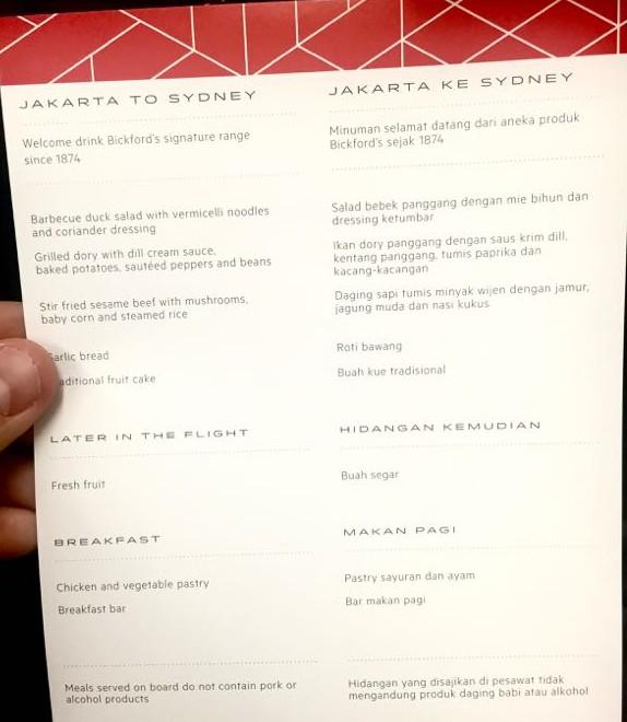 QF 42 Jakarta to Sydney menu