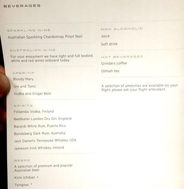 QF42 Jakarta to Sydney drink list