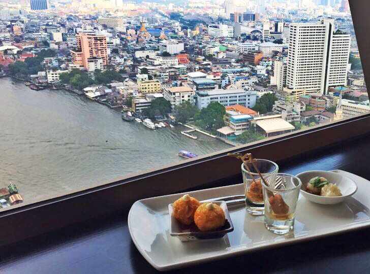 Millennium Hilton Bangkok Christmas Buffet Canape with a view