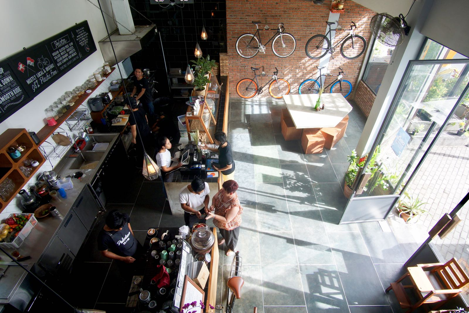 From Above Peloton Supershop Canggu Bali