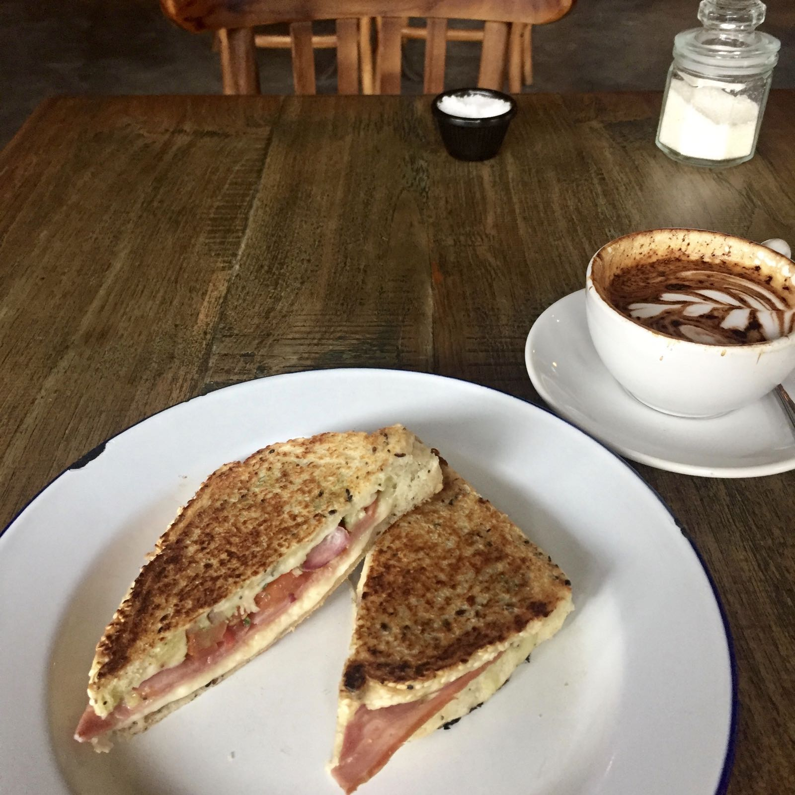 Ham and cheese Toastie at Corner House