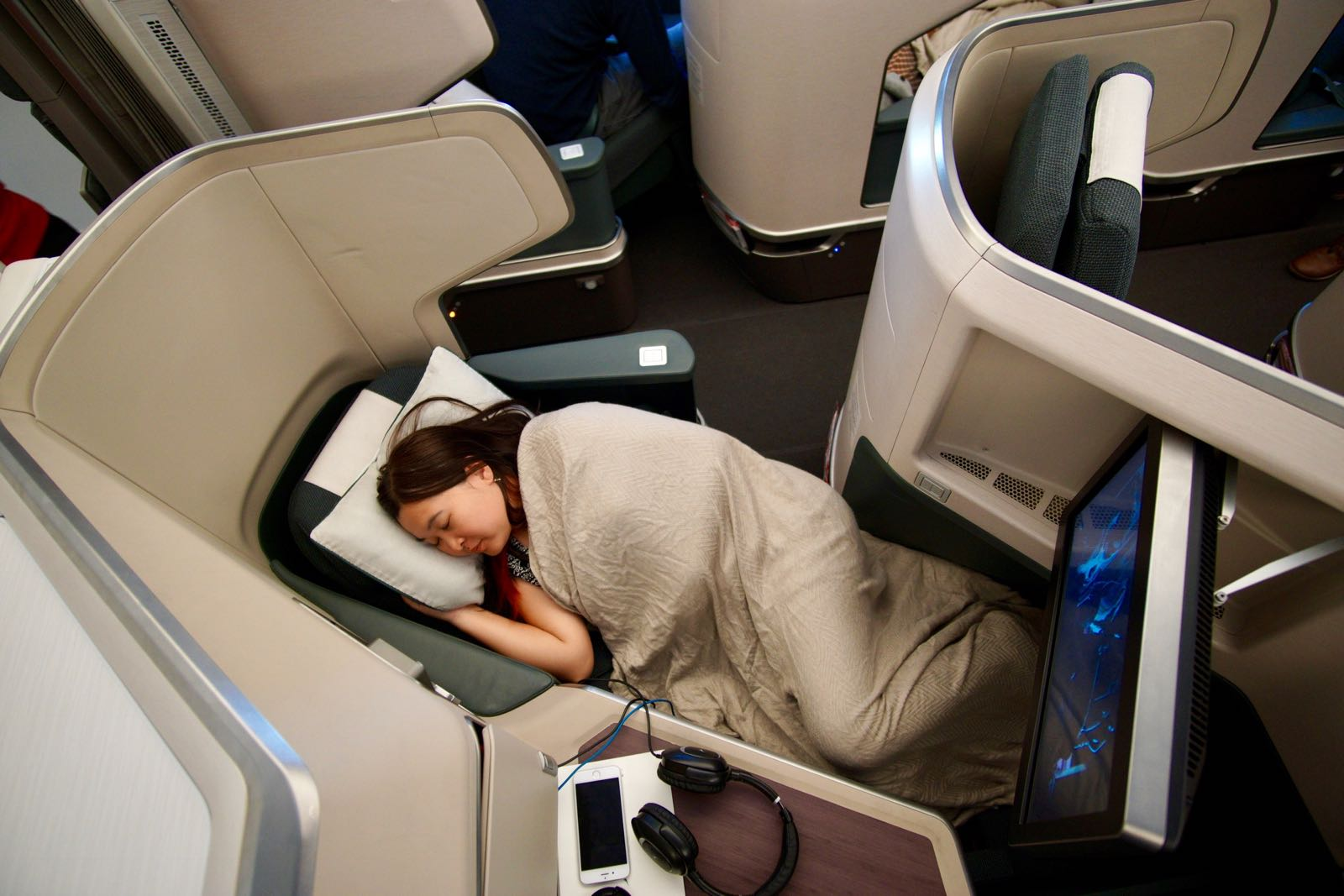 Cathay Pacific A350 Business Class Lie Flat Bed