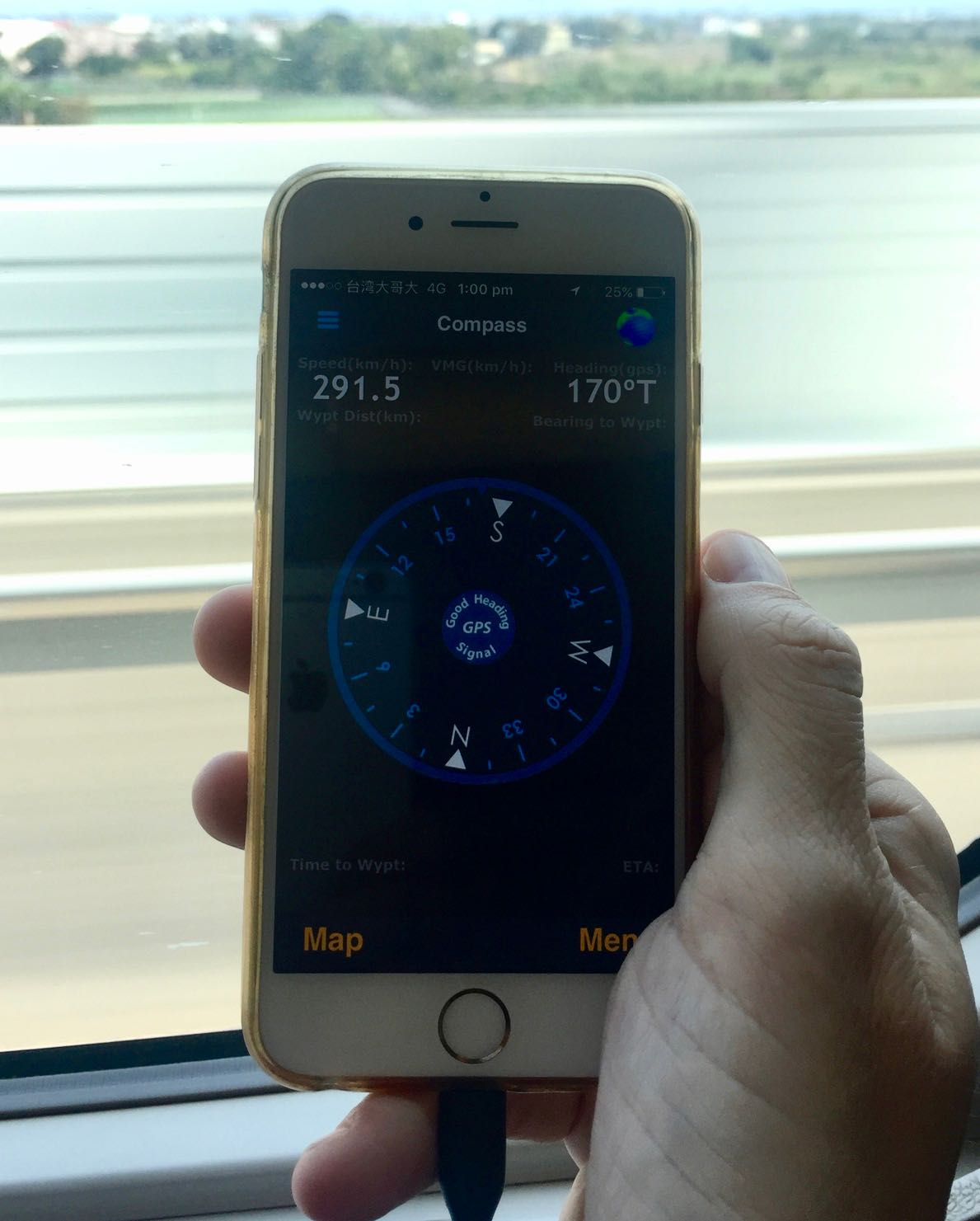 phone showing speed of taiwain high speed rail between Taichung and Kaohsiung