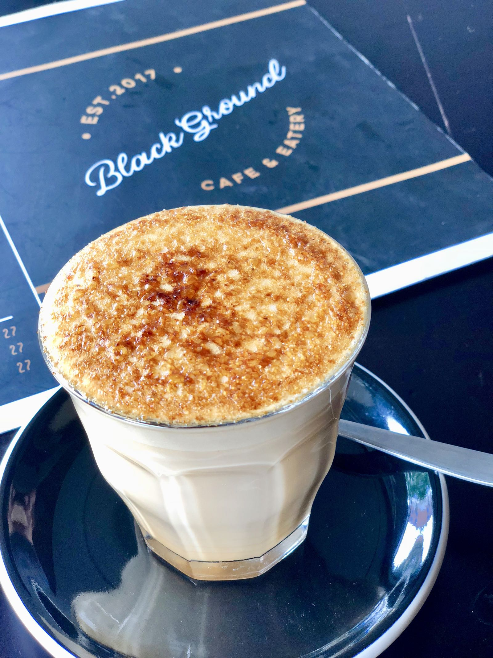 Creme Brulee Latte Black Ground