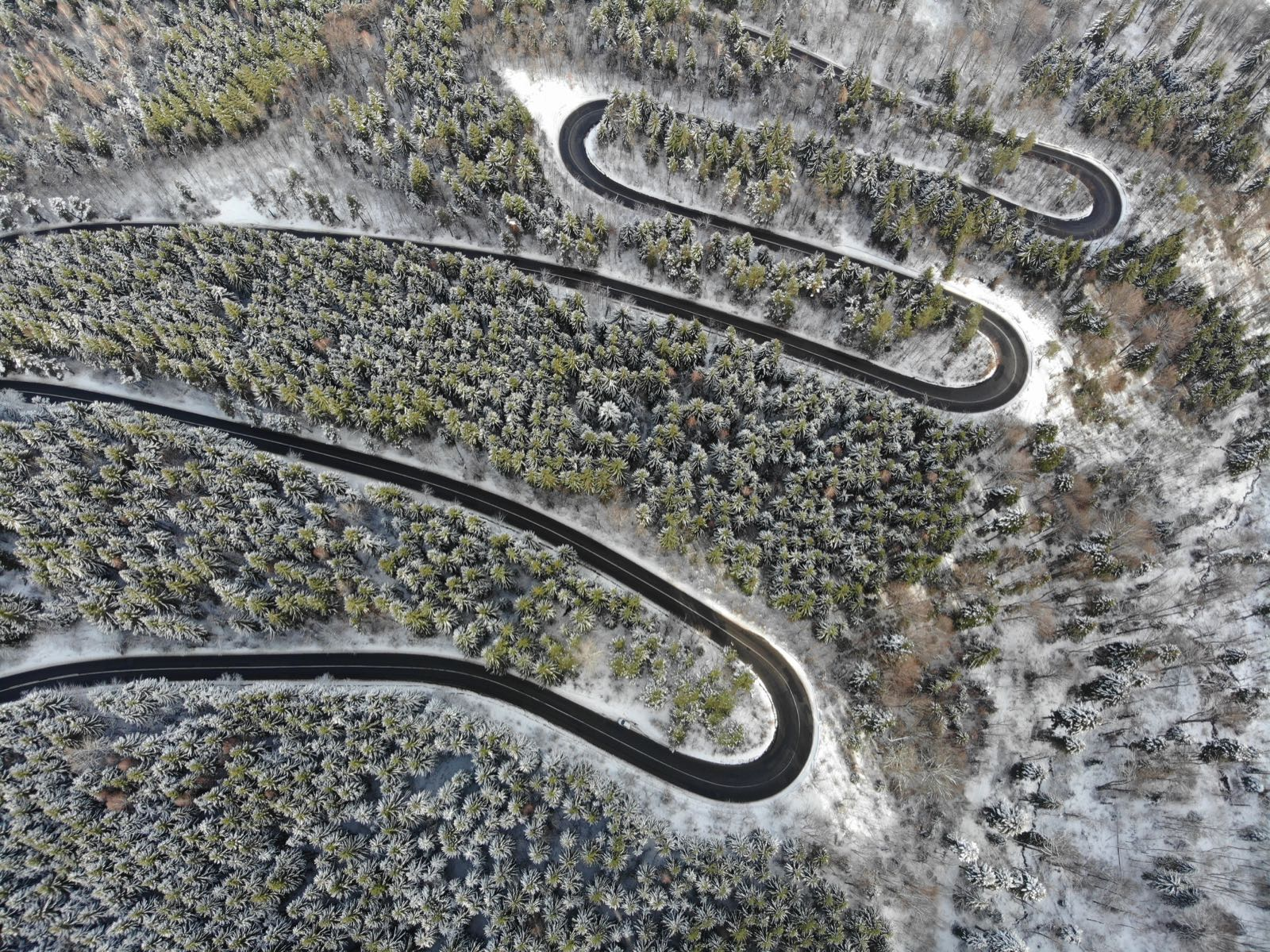 Aerial Shot Balkans Road in Winter
