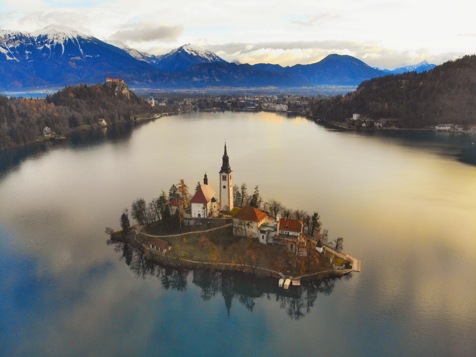 Aerial Shot of Lake Bled Slovenia