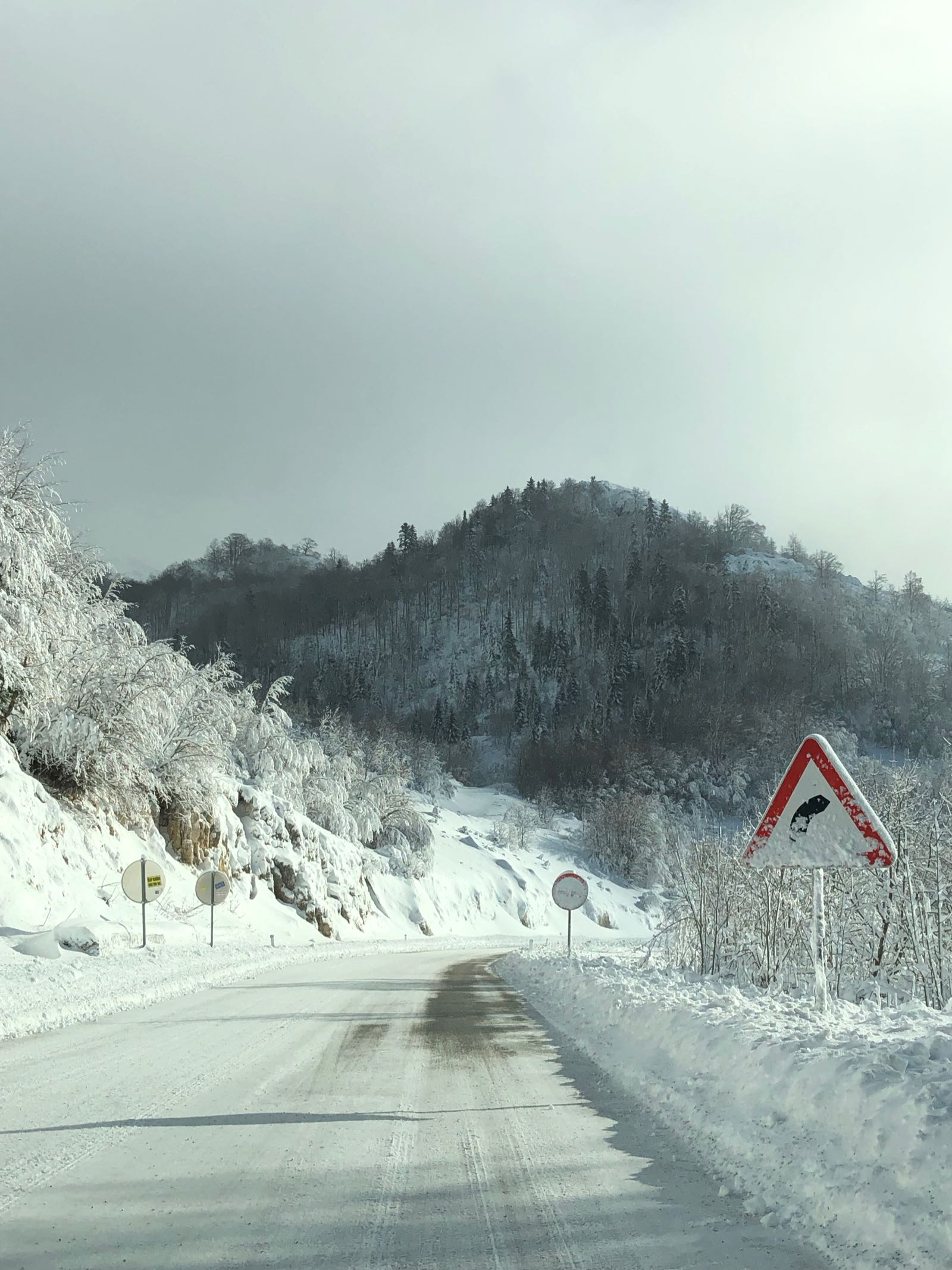 Road Covered In Ice On Balkans Road Trip