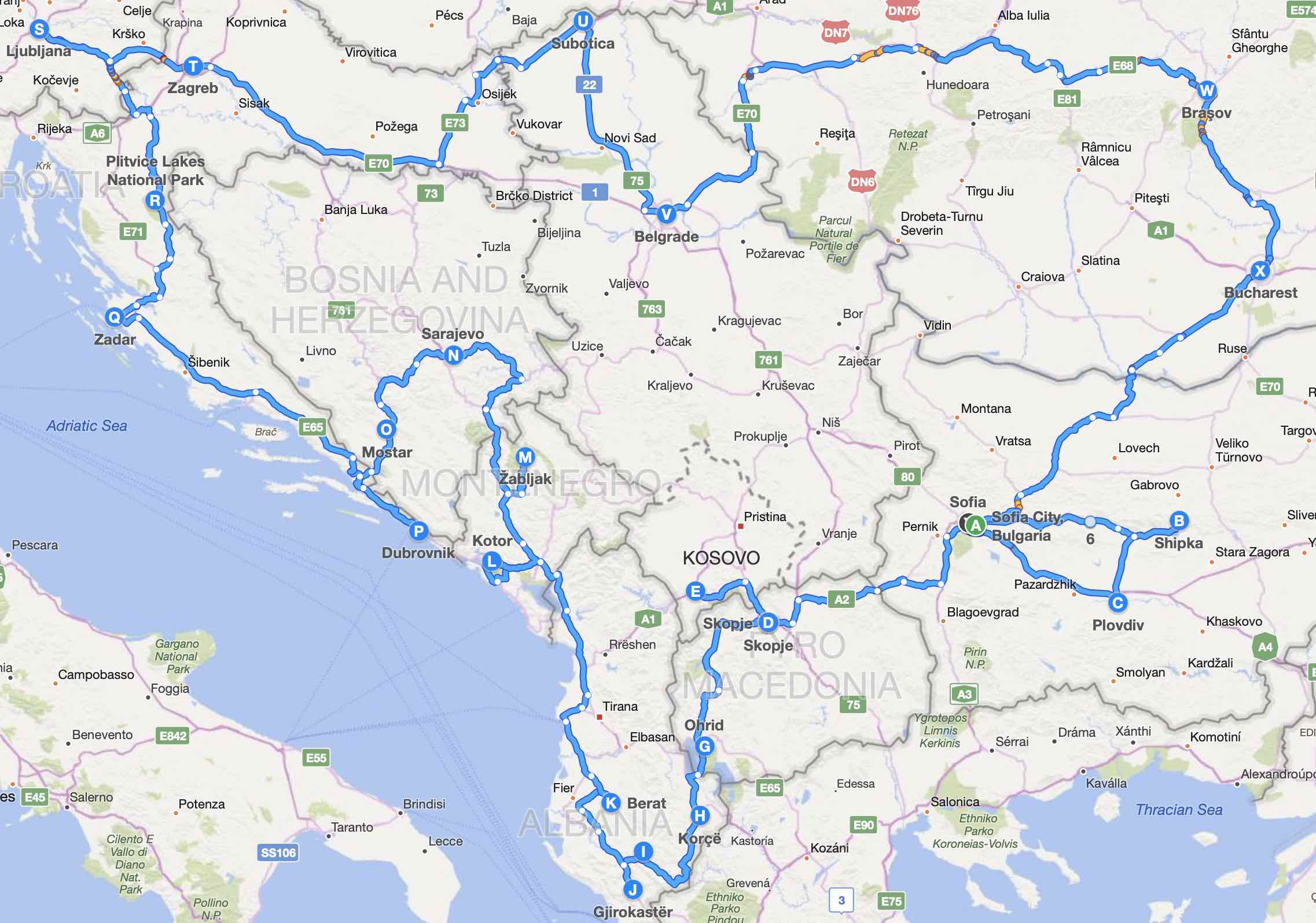Balkans Roadtrip Route
